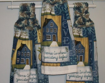 Home Is Where Your Story Begins-Love Blue Patchwork Pineapple Tree Crochet Top Hanging Dishtowel *No Button/Button* Handmade by HCF&D