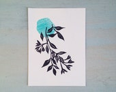 botanical card hand printed wild flowers art print flowers illustration small print wall decor