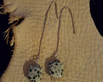 Faceted Dalmation Jasper beads on Sterling Siver 3 inch ear threads
