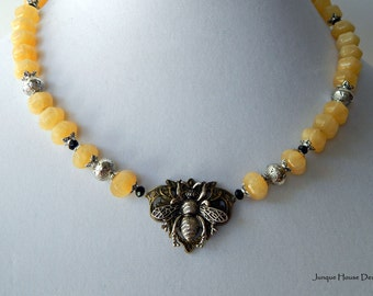 Yellow Jade Bumble Bee Honeycomb Necklace