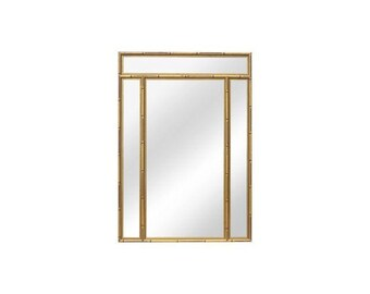Large Vintage Gold Faux Bamboo Mirror | Hollywood Regency | Chinoiserie