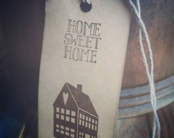 12 Prim Saltbox House gift tags, hand stamped gift tags, saltbox house, prim house, home sweet home