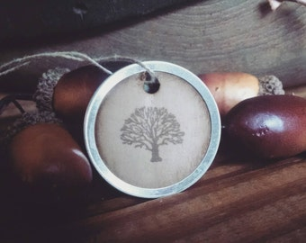 "Old Oak Tree hand stamped gift tags, metal rim tags, sized 1 1/4"", set of 12"
