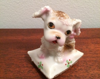 Vintage Dog Figurine Japan Small Puppy on Pillow