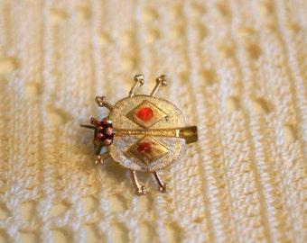 Vintage Gold Lady Bug Brooch