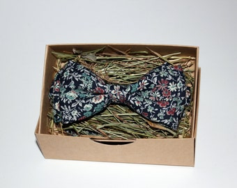 Floral bow tie, Blue bow tie, Bow tie for men, Men's bow tie, Bow tie for boys, Rustic bow tie, Wedding bow tie, Party bow tie, Gift for men