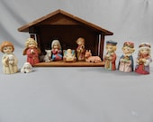 Sweet Vintage Nativity Set, Creche, Nativity Scene -  Set of 11 Bisque Porcelain Figures and Wood Stable