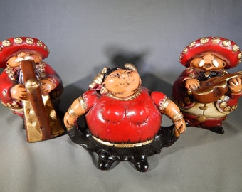 Trio of Vintage Mexican Mariachi Roly Poly Figures -  Whimsical, Vibrant, Fun