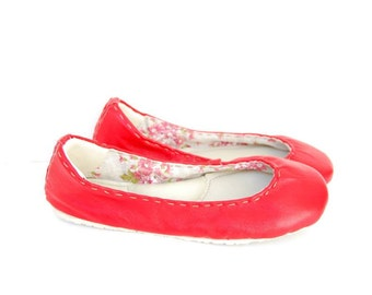 Red leather ballerina flat shoes linen lined custom made