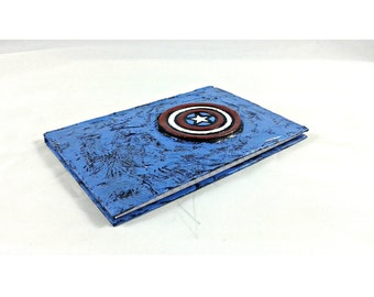 Captain America mixed media blank journal