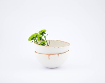 SALES-50% discount/ round handmade white ceramic bowl with golden rim/ jewellery dish/ serving bowls/ nesting bowls/ whit and gold/