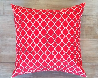 """Red and White Quatrefoil Lattice Print Pillow Cover. 16"""" Pillow Cover."""