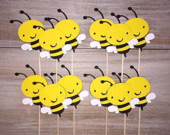 Bumble Bee Cupcake Toppers. Bee Birthday Party. Bee Baby Shower.