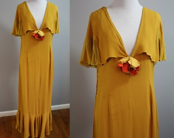 1920's Gown // Mustard Silk with Flutter Sleeves // Medium