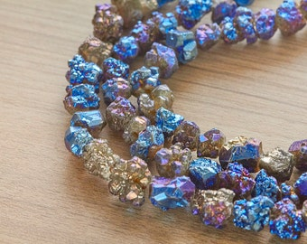 5 pcs of Blue Plated pyrite Rough Nuggets Beads