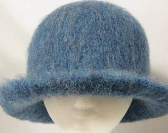 Hat Wool Felted Blue Mix with Flared Brim