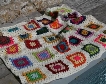 Couverture de berceau etsy - Tapis carres multicolores ...