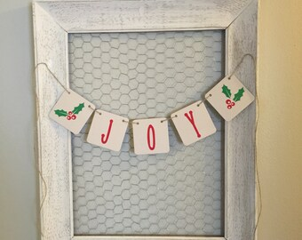Joy Christmas Banner Photo Prop, Merry Christmas Sign, Christmas Garland, Chipboard