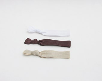 Hair Elastic Bands - Neutrals Brown - Hair Bands - Set of 3