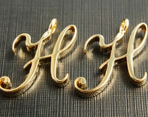 Alphabet H with link, AH-G8, 2 pcs, 19x16mm, 3mm thick, Capital letter, 16K gold plated brass, Alphabet charm / pendant, Uppercase