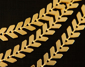 Nickel free, Fishbone chain, CJ03-12, 1 meter, Handmade chain, 5x6mm, 16K shiny gold plated brass, Arrow chain, Choker chain, Chevron chain
