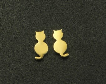 Cat earring post, Nickel free, S59-G3, 2 pcs, Cat 12.2x5.6mm, 1.2mm thick, 16K gold plated brass, Animal earring post series