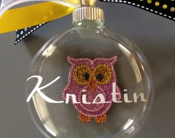 Personalized Owl Ornament-Personalized Christmas Ornament-Owl theme-purple owl