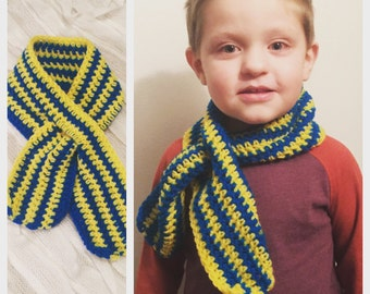 Toddler scarf, baby scarf, kids scarf, striped scarf, crocheted scarf, youth scarf