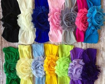 MANY COLORS-- Nylon Newborn/Infant Headband: Chiffon Flower on a matching soft nylon headband Newborn, Infant, Toddler, Girl's