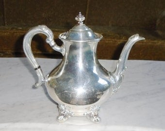 "Vintage Signed ""Reed & Barton 5600 Regent"" Silver Plate Coffee Tea Pot"