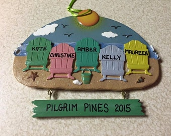 Beach Chairs Personalized Christmas Ornaments