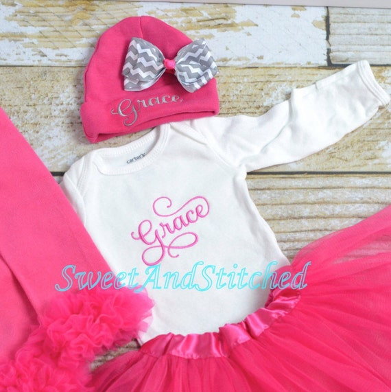 Personalized newborn outfit in hot pink, baby girl take home hospital outfit pink and gray, newborn hat with name, monogram baby girl outfit