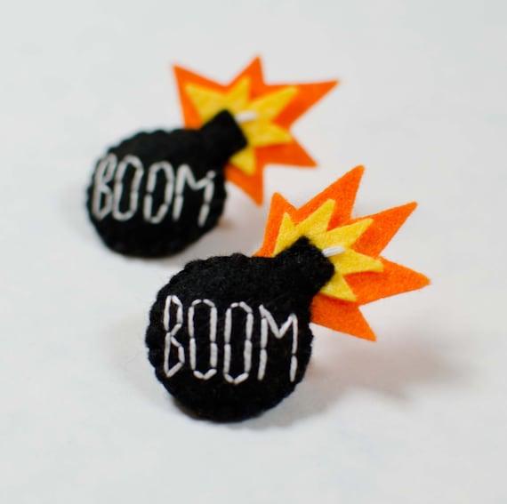 Boom Felt Handmade Bomb Embroidered Badge