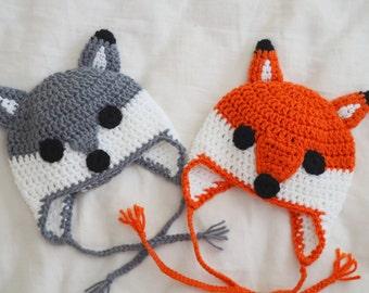 Wolf Fox Earflap Hat