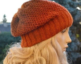 Knitted multicolor kauni wool beanie cap/hat orange brown