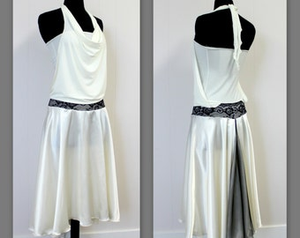 White Color, Halter, Silk skirt,  Mesh tail, lace waist, Tango dress from stretch fabric