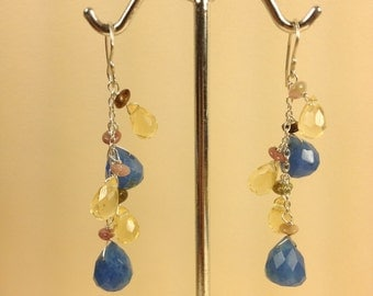 Blue quartz dangle earrings