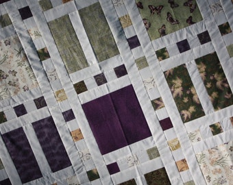 Unfinished Quilt Top Ready to Quilt Queen Bed Slideshow Pattern Purple Green Cream