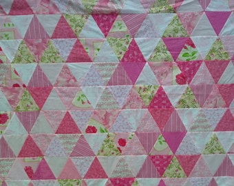 Unfinished Quilt Top Ready to Quilt Twin Bed Pink Rose Triangles