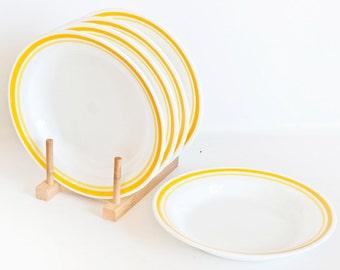 Corelle Citrus Shallow Soup Bowls, Orange Yellow Stripe Corelle Ware Rimmed Salad Bowls, Corning, Made in USA