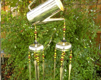 Wind chime made rustic silver flatware and retro coffee pot - lime green and brown glass beads - re purposed garden art decoration - kitchen