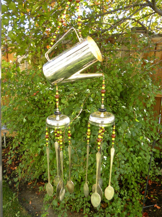 Wind chime made rustic silver flatware and by for Wind chimes out of silverware
