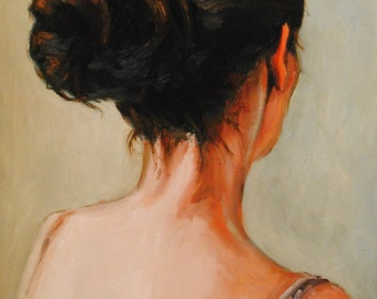 Study of a Beautiful Young Woman Turned Away- Marisa with a hair bun- Original Female Figure Portrait Oil Painting- Dark Hair