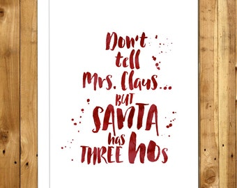 Funny Christmas Card - Funny Holiday Card - Naughty Christmas Card - Cheeky Christmas - Humorous Christmas Cards - Don't Tell Mrs Claus