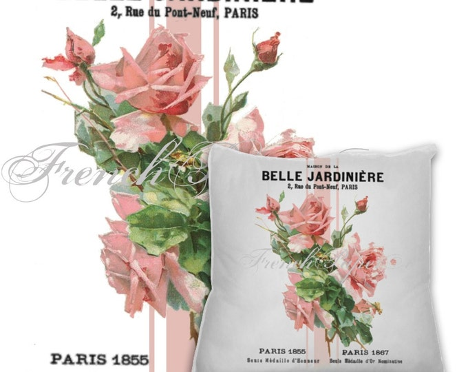 French Digital Shabby Chic Pink Rose Fabric Transfer, Digital Rose Pillow Image Graphic Printable