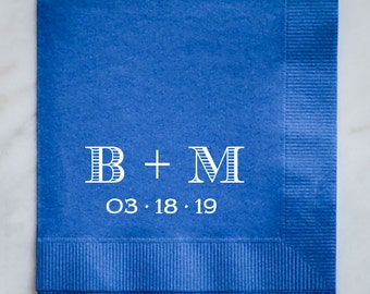 Personalized Wedding Napkins with Initials and Date, Custom Mongoram Wedding Napkins, Wedding Shower Napkins, Personalized Napkins
