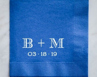 wedding napkins with initials and date custom mongoram wedding napkins wedding shower napkins