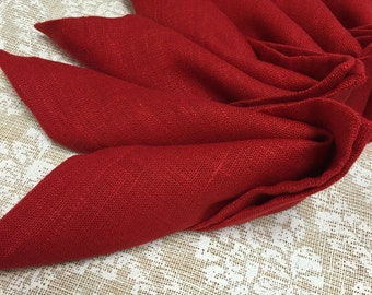 Linen Napkins Set of 6 Red