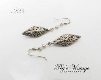 Vintage Earrings Sterling Silver Filigree, Hollow Open Work Dangle French Hook Earrings, Triangle Drop 925 Earrings