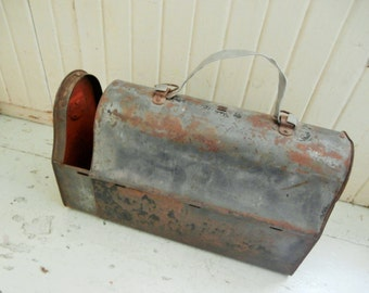 1913, Antique, Lunch Box, Red Interior, Sliding Style